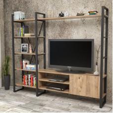 Metal Görünümlü TV Ünitesi Kitaplıklı %100 MDF